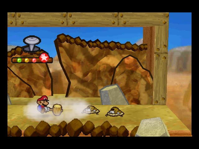Paper Mario - Battle  - Gopher:Look at the fool hammering the ground - User Screenshot